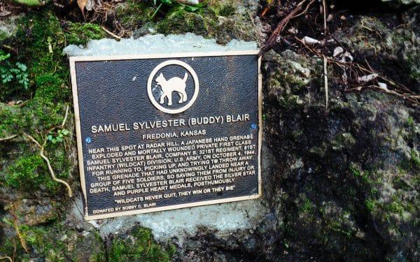 паметна плоча на войник, загинал при нападението срещу японските войски в Пелелиу